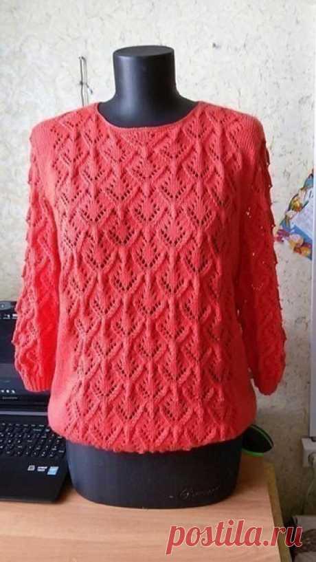 Красивый узор для пуловера. Схема вязания спицами #ПуловерСпицами #ВязаниеСпицами #вязание