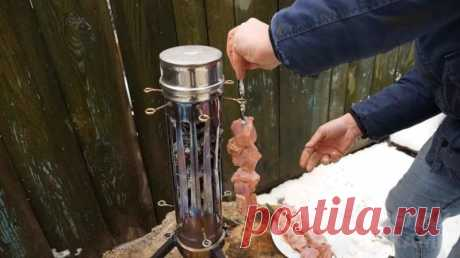 Вертикальный мангал из куска круглой трубы из нержавейки Вертикальные мангалы набирают все большую популярность, потому что мясо, приготовленное на них, не содержит вредных для здоровья канцерогенов.В данном