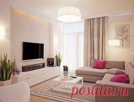 Пастельный интерьер. Угловой диван в гостиной