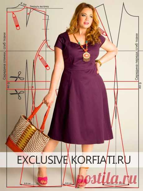 El patrón del vestido de la dimensión grande de Anastasia Korfiati el Patrón del vestido de la dimensión grande para las mujeres corpulentas. ¡Fácil, que vuela, con las costuras verticales en relieve y corto rukavchikami - ello todo cambia!