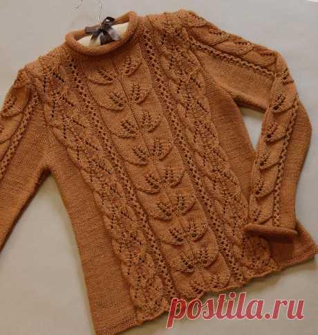 Ажурный пуловер, вяжем спицами