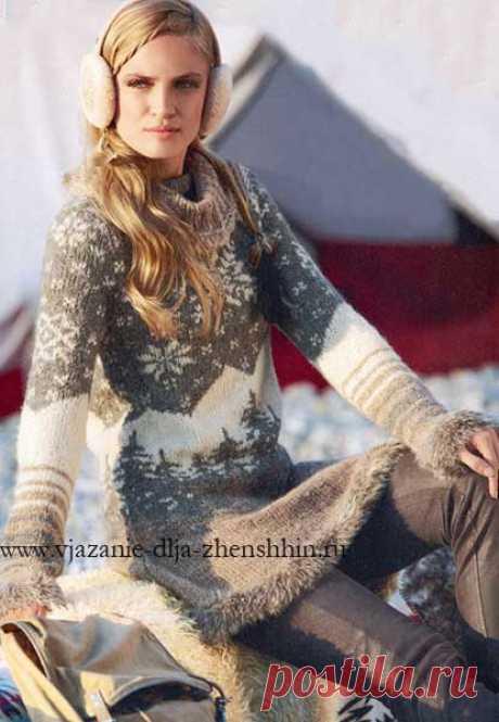 Knitting of a dress with jacquard patterns