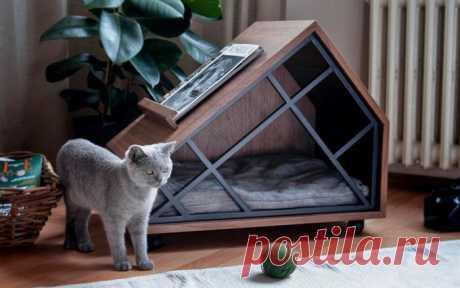 Домик «класса люкс» для кошек, как достопримечательность интерьера: 10 примеров с фото