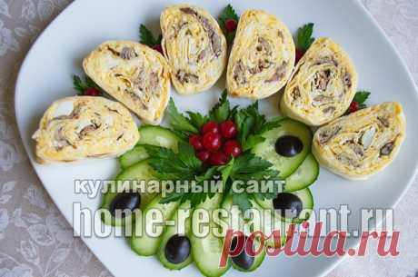 Лаваш с начинкой «Ностальгия» со шпротами и сыром - Домашний Ресторан