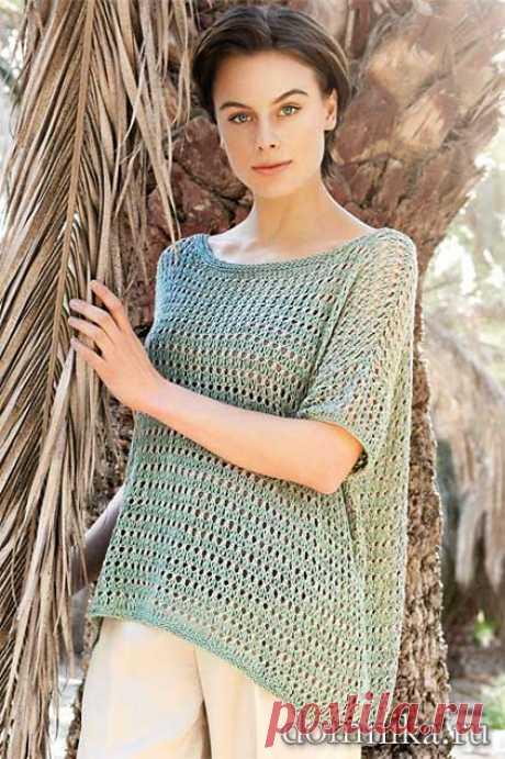 Вязание для полных женщин - стильный пуловер спицами