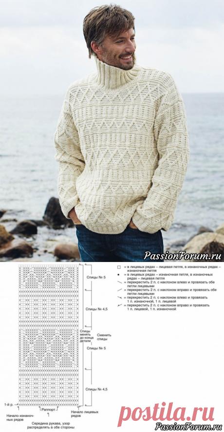 Мужской свитер с рельефным узором. Схема и описание | Вязание для мужчин спицами. Схемы вязания