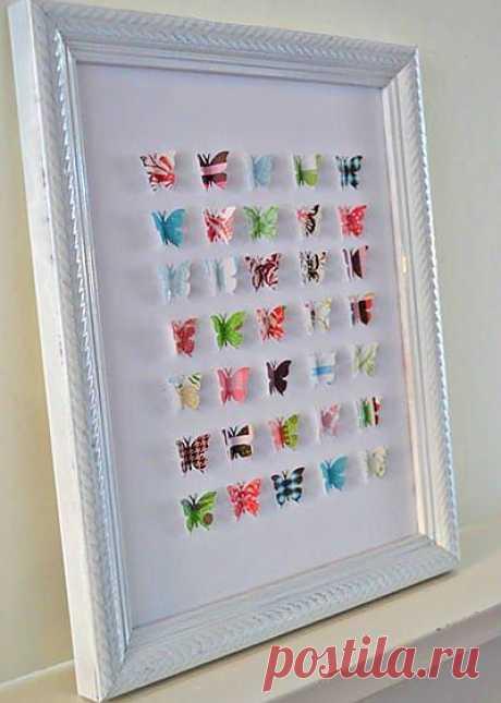 El panel con las mariposas de las revistas