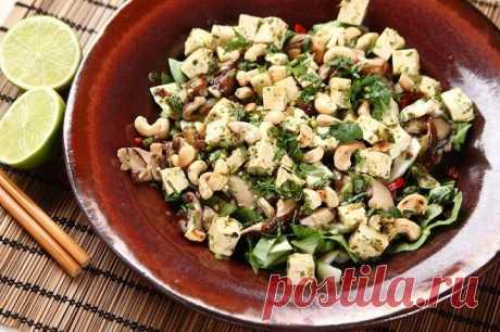 Вкусный салат с сыром тофу – пошаговый рецепт с фото.