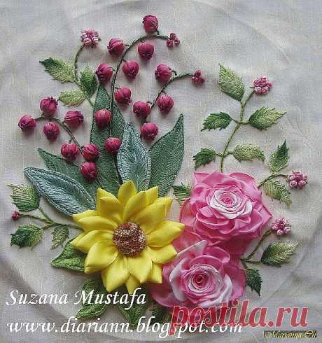 Мини мастер-классы по цветам из из лент и пряжи - 1... пошаговые фото....
