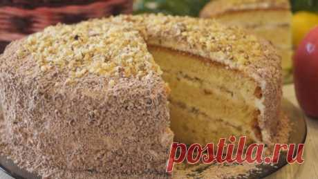 Fast and simple Smetannik cake with nuts!
