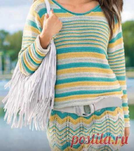 Цветная юбка с волнистым узором схема спицами » Люблю Вязать