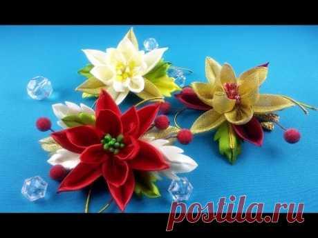 Easy Christmas hairpin/Pelo clips fasil de Navidad/Рождественские заколки: очень легко.МК