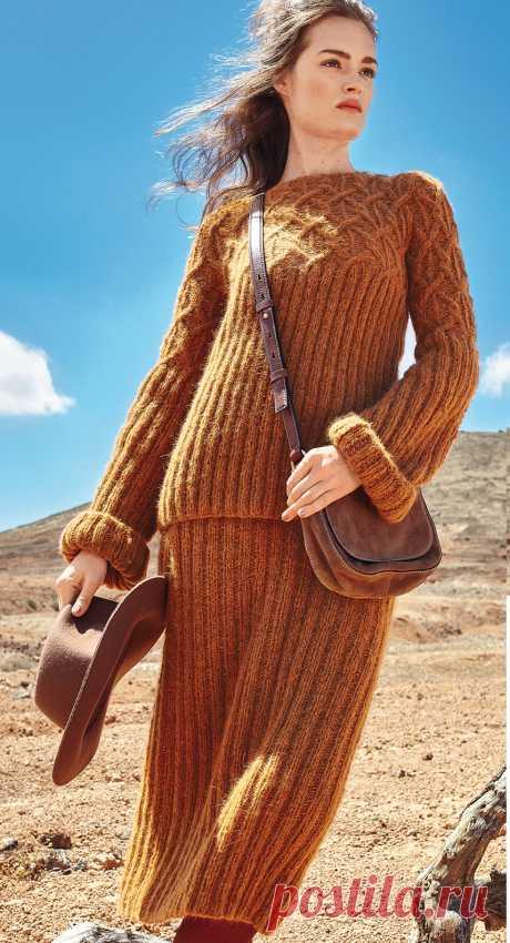 Вязаный костюм спицами: Джемпер и юбка резинкой с узором из жгутов - Портал рукоделия и моды