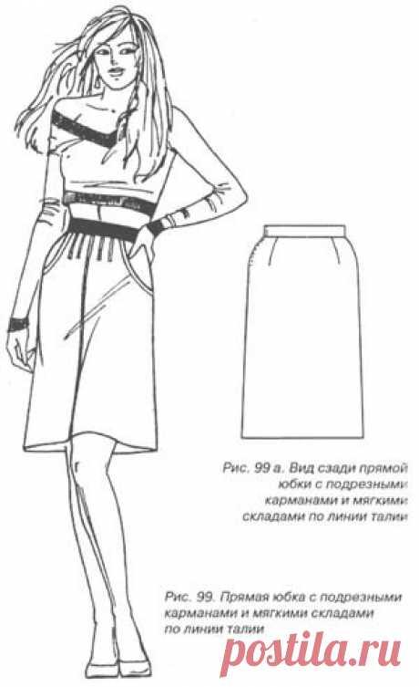 Шьём юбки на любой вкус. Часть 9  Шьем юбки на любой вкус!  44 варианта моделирования!!!!Прямая юбка с подрезными карманами и мягкими складками по линии талии  Юбка выполнена на основе прямой двухшовной юбки и может быть пошита из …