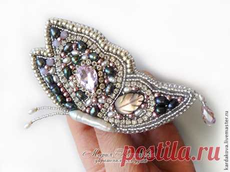 """The embroidered brooch \""""A lunar butterfly\"""" (Beadwork) 