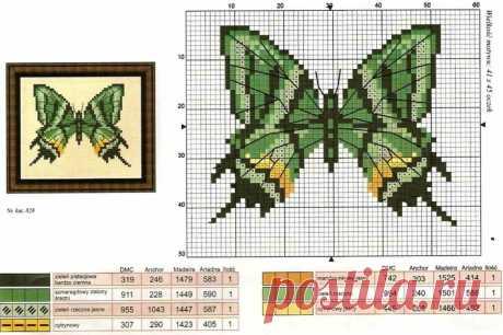 Махаон. Бабочка крестиком.Схема вышивки крестом бабочки: бесплатные цветы, маленькие .