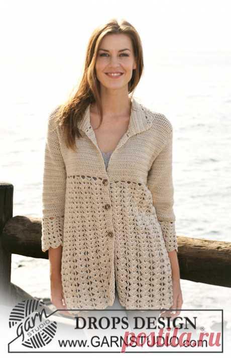 """Waves and Shells / DROPS 118-25 - Free crochet patterns by DROPS Design Crochet DROPS jacket with fan pattern in """"Muskat"""". Size S - XXXL."""