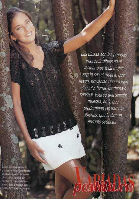 Ажурная блуза волнистым узором. Крючком. Схема узора. / ctejidas.co