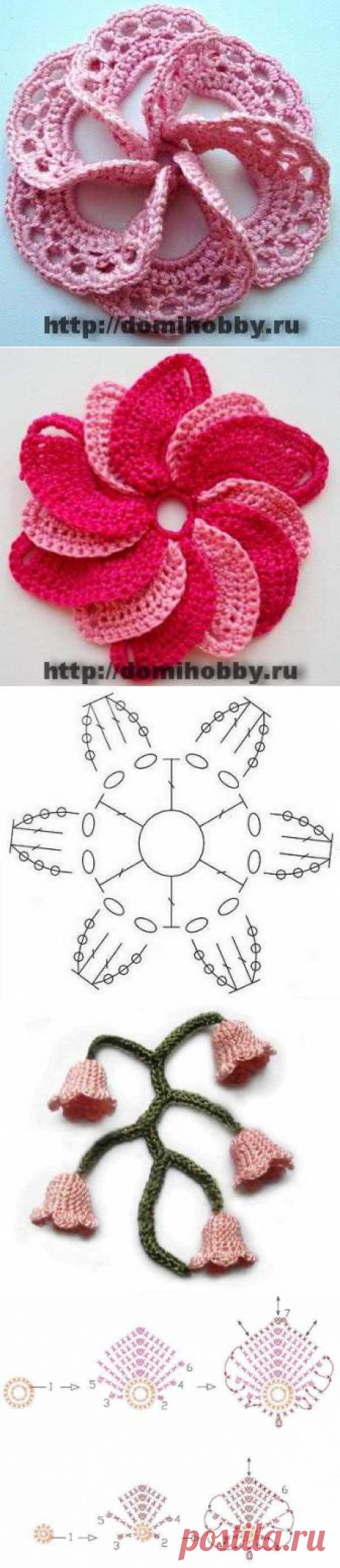 Вязаные объемные цветы крючком схемы с описанием мастер класс