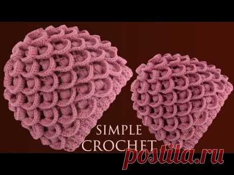 Como tejer a crochet gorro para principiantes en punto 3D plumas de pavo real tejido con ganchillo