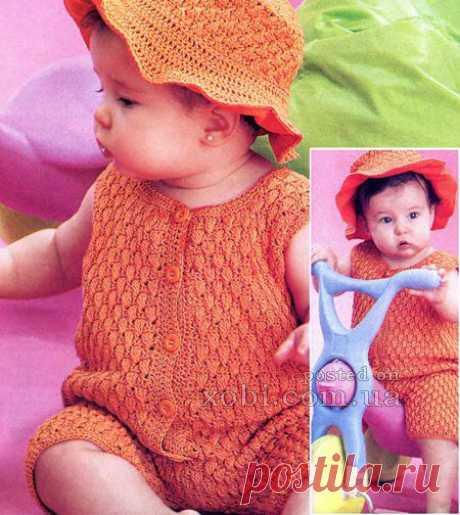 полукомбинезон и шляпка для девочки
