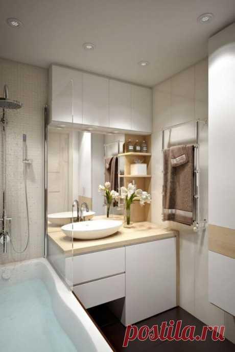 ~ Дизайн маленькой ванной комнаты. Идеи с фото