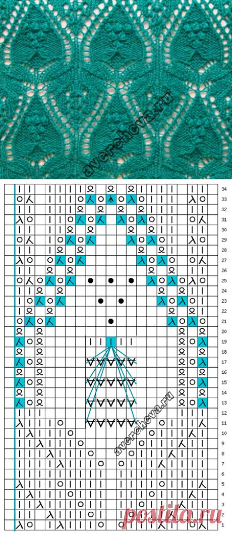 ажурный узор по японской схеме | каталог вязаных спицами узоров