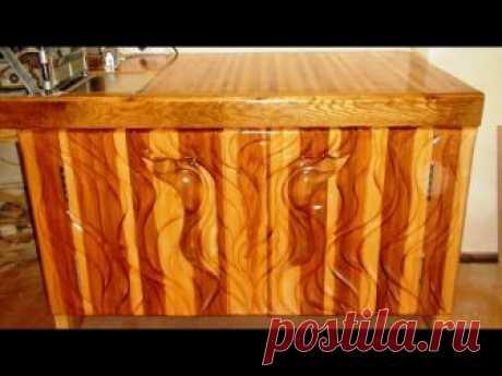 Резьба по дереву болгаркой, резной шкаф под рейсмус, резная мебель
