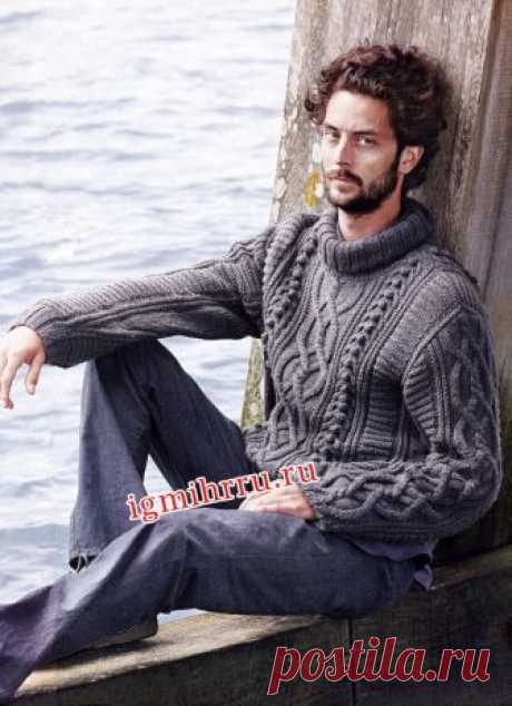 Men's gray sweater with a mix of patterns. Knitting by spokes for men
