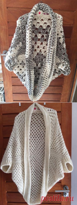 Irish crochet &: CROCHET GRANNY COCOON SHRUG