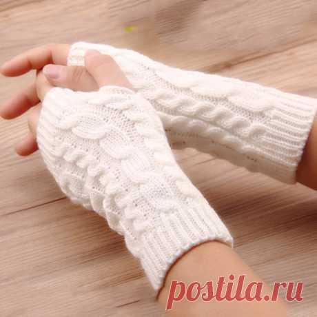 Женские теплые перчатки без пальцев, вязаные крючком перчатки из искусственной шерсти, теплые митенкит  Женские перчатки  