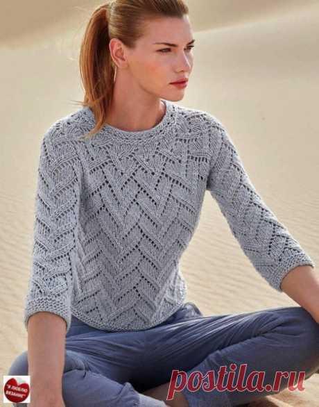Вяжем серый пуловер для женщин