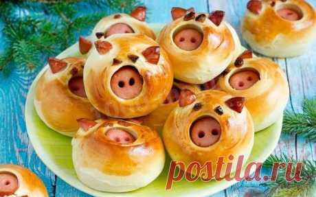 Булочки поросята в год Кабана-Свиньи рецепт с фото пошагово - 1000.menu