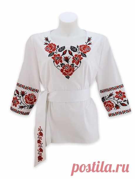 Жіноча блуза з поясом, вишита яскравими трояндами (вишиванка), колір білий, код 107 | kirushkos.com.ua