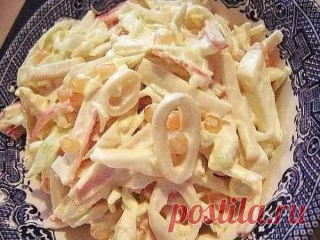Three simple salatik with squids