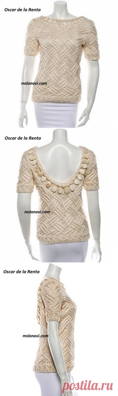 Летний пуловер спицами от Oscar de la Renta | Вяжем с Лана Ви