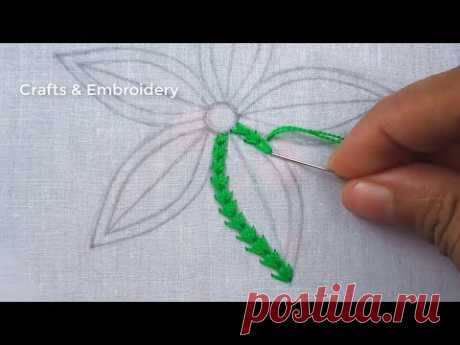Hand Embroidery, Flower Embroidery Tutorial, Easy Flower Embroidery Design