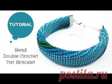 Bead double crochet flat bracelet   Bead crochet tutorial   Bead tutorial   Handmade bracelet