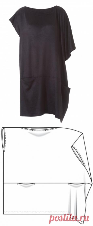 Платье простого кроя - выкройка № 119 из журнала 12/2015 Burda – выкройки платьев на Burdastyle.ru