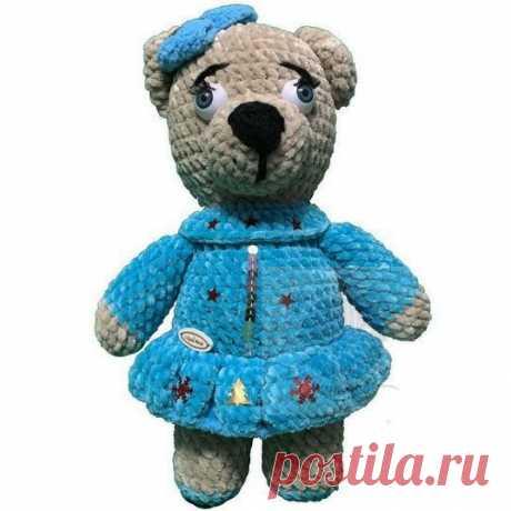 Мягкая игрушка мишка в платье голубом, 32 см Вязаная игрушкаПлюшевый мир Мастерская игрушек Анны Ганоцкой