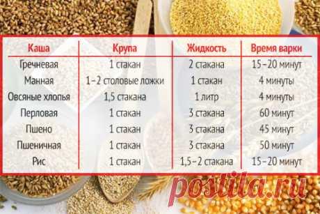 Как варить крупы – полезная памятка - Все о еде и ее приготовлении - www.calorizator.ru