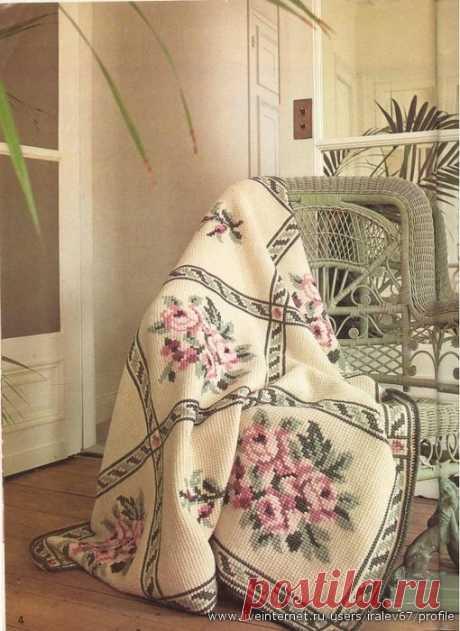 Красавцы пледы - тунисское вязание с вышивкой ( видео мастер - классы ) . Пост отредактирован !