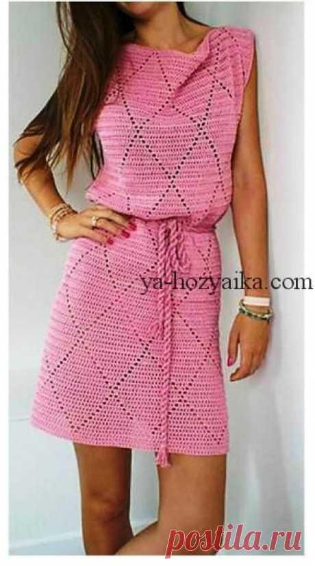 Платье крючком с ромбами. Схема вязания летнего платья крючком