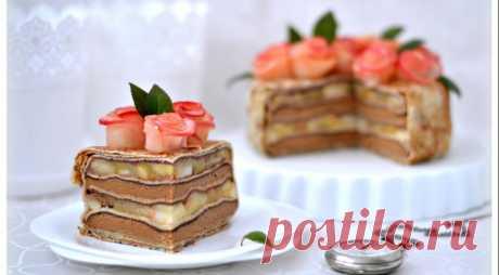 Блинный торт Розовый букет, пошаговый рецепт с фото