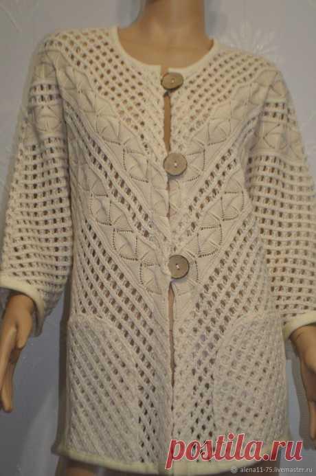 Beautiful Ecru Linen Knitted Cardigan Crocheted Women | Etsy