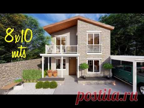 Plano de casa de 8x10 metros con 3 dormitorios