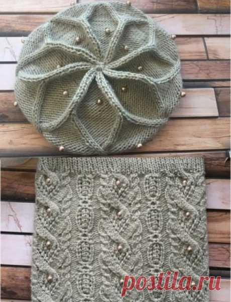 [Вязание] Красивейший комплект: берет спицами от Desi Knitter и ажурный снуд узором из японского журнала. Мастер-классы.