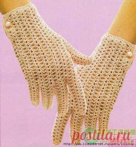 Кепочка и перчатки | Женская одежда крючком. Схемы и описание