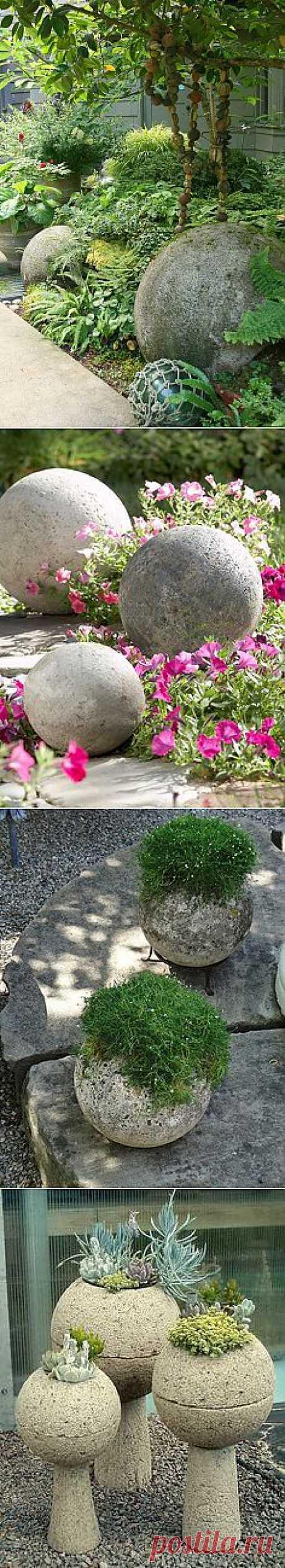 Бетонные шары в саду