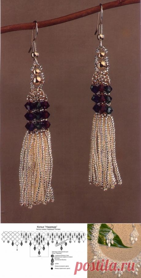 Серьги и комплект «Белоснежный» Колье, бусы, ожерелья, Серьги – Бисерок